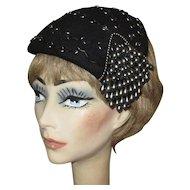 Vintage Beaded Hat, Black, 1940's, Legroux Souers