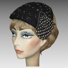 Vintage Beaded Hat, Black, 1940's, Legroux Souers