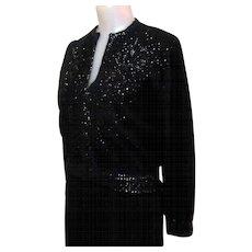 Vintage Beaded Sweater, 1950's Cardigan, Black