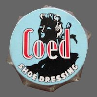 Vintage Coed Shoe Dressing, Art Deco Glass Jar