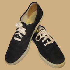 Vintage 80's Keds Sneakers, Black Canvas Shoes 7 !/2
