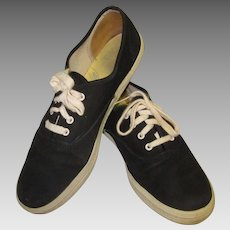 Vintage 80's Keds Sneakers, Black Canvas Shoes 7 !/2