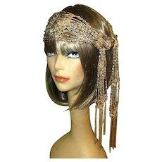 Vintage Beaded Silk Scarf / Flapper Headband / Shawl, Gatsby