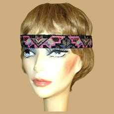 Beaded Flapper Head Band. 1920's Authentic Art Deco