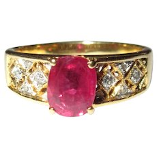 Ruby & Diamond Ring, 18K Gold, 60's Vintage, 1ct Solitaire
