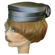 Satin Pill Box Hat, Rose, Netting, Vintage 50's New York