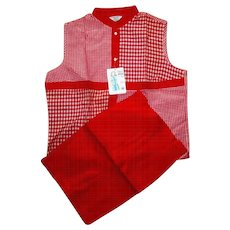 Shorts & Blouse Set, 50's, Cotton Red Check, Vintage Jamaica  NWT