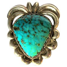 Turquoise & Sterling Pin / Pendant, Native American Old Pawn 50's