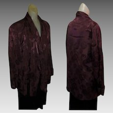 Vintage Smoking Jacket, 40's Satin Brocade, Maroon