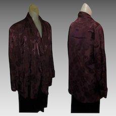 Vintage Smoking Jacket, 40's Satin Brocade, Maroon