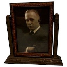 Vintage Picture Frame, Carved Wood, Swivel Stand