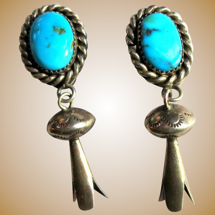 b3cfea05a Vintage Turquoise Squash Blossom Earrings, Sterling Clip On : Lake Girl  Vintage | Ruby Lane