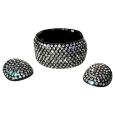 Weiss Thermoplastic Bracelet & Earrings, Rhinestone Clamper