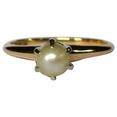 Ostby Barton 14K Gold Ring, Pearl, Antique, 1890's