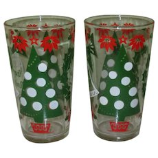 Vintage Christmas / New Years Glasses, Mid Century, Hazel Atlas