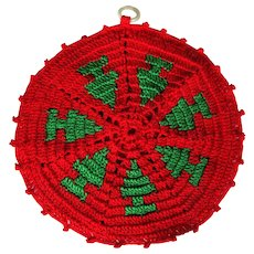 Vintage Crocheted Trivet / Hot Pad, Christmas Trees