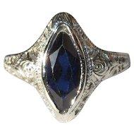 Ostby Barton Filigree Ring, 10K WG, Art Nouveau
