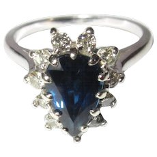 Sapphire & Diamond Halo Ring, 14K, Vintage 60's Cocktail