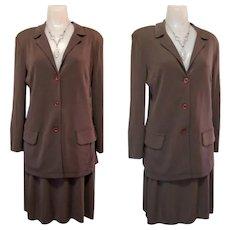 Rayon Knit Suit, 80's Carole Little, Skirt & Jacket