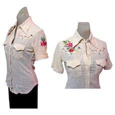 Embroidered Rockabilly Shirt, Women's Gauze 60's