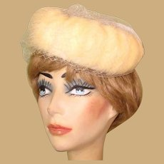Vintage Fur Hat, 1950's Netting, Pill Box