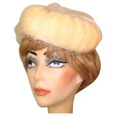 Vintage Fur Hat, 1950's Netting, Pill Box