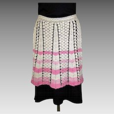 Vintage Lace Apron, Hand Made, 30's, Crotchet
