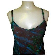 Batik Sundress, Tie Back, Vintage Bias Cut