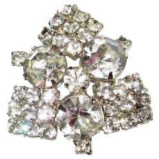 Rhinestone Brooch, Vintage Diamante Pin 50's