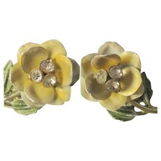 Vintage Rhinestone & Enamel Yellow Rose Earrings, 50's