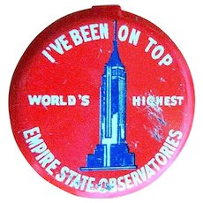 Vintage Empire State Building Button, Fold Over Souvenir