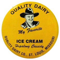 Hopalong Cassidy Button, 1950 St. Louis Dairy
