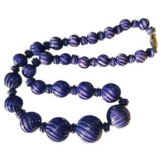 Vintage Necklace, 1970's Carved Beads, Deep Blue