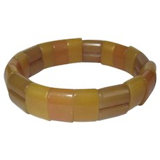 Vintage Plastic Stretch Bracelet, Amber Colored Beads