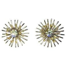 Vintage Atomic Earrings, Rhinestone Star Bursts, 1950's Clips