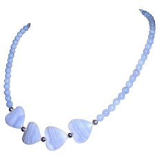 Blue Art Glass Heart Necklace, Vintage Sweetheart
