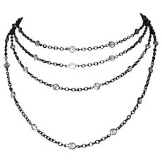 Victorian Gunmetal Crystal Chain, Necklace, Muff Chain
