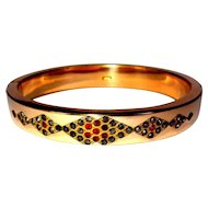 Victorian Bangle Bracelet, Paste Stones, GF Engagement Hinged