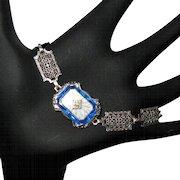 Sterling Camphor Glass Bracelet, Deco Filigree, Paste Stone