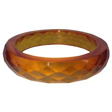 Bakelite Bracelet, Apple Juice Faceted Vintage Deco