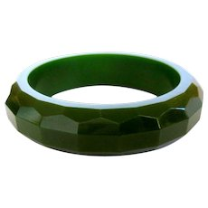 Bakelite Faceted Bangle Bracelet, Green Vintage Deco