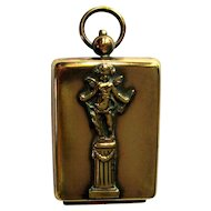 French Compact, 1920's Cupid, Cherub Chatelaine / Necklace