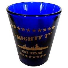 USS Texas Vintage Shot Glass, Mighty T Battleship