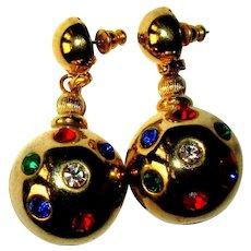 Vintage Rhinestone Earrings, 60's Holiday Disco Balls
