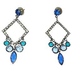 Crystal Earrings, 1960's Rhinestone Geometric, Vintage Drops
