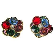 Vintage Crystal Earrings, 1950's Jewel Tones, Rhinestone Floral