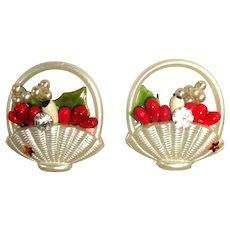 Vintage Rhinestone Earrings, Floral Basket, 50's