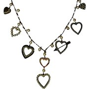 Vintage Heart Charm Necklace, Glass Works Studio, Valentine