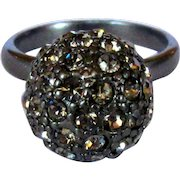 Vintage Rhinestone Ring, 60's Disco Ball, Gunmetal
