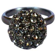 Vintage Rhinestone Ring, 60's Disco Ball, Gunmetal
